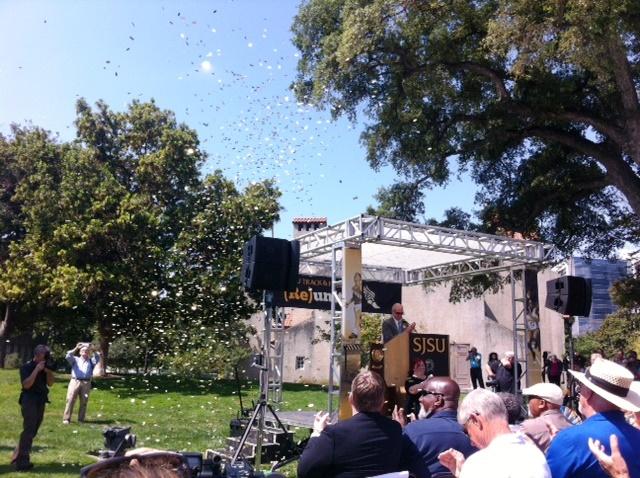 confetti drop at the announcement of reinstating SJSU Men's track