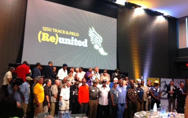 former SJSU T&F athletes at reception