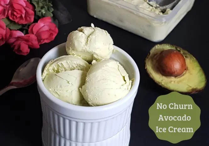 No Churn Avocado Ice Cream | 3 Ingredient Avocado Ice Cream