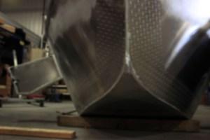 A closeup shot of the Pavati Marine Drift Boats patented Wavecutter Bow