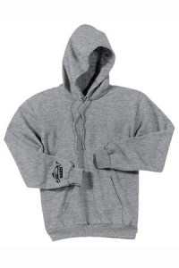 Clothing and Accessories by Pavati Marine - Light Gray Pullover Hoodie with Fish Logo