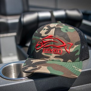 Clothing and Accessories by Pavati Marine - Camoflage Snap-Back Hat with Red Logo