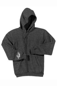 Clothing and Accessories by Pavati Marine - Dark Gray Pullover Hoodie with Fish Logo