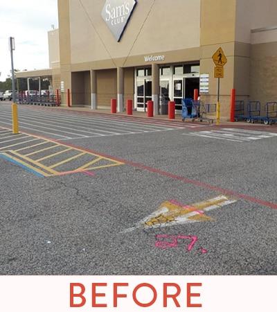 Commercial store front before Parking Lot asphalt re-surface.