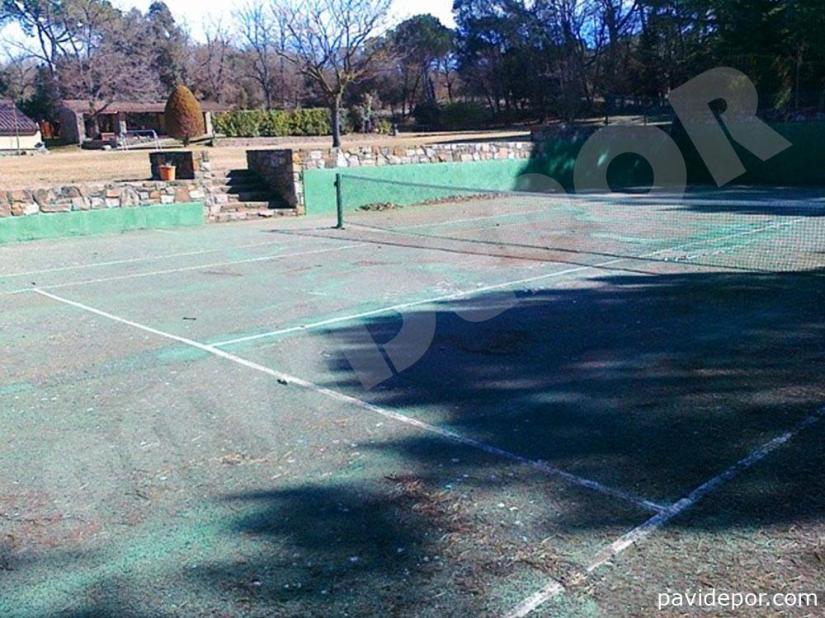 Reparación Pista de tenis con hormigón poroso en Madrid 03