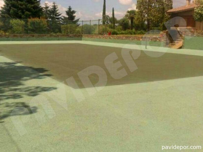 Reparación Pista de tenis con hormigón poroso en Madrid 06