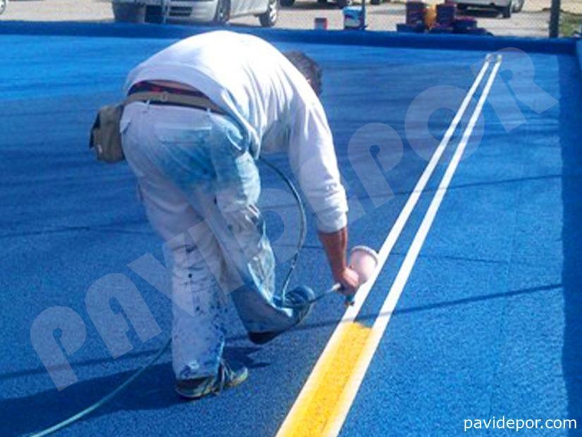 Pista Deportiva Colegio Arzobispal de Madrid, pintura lineas