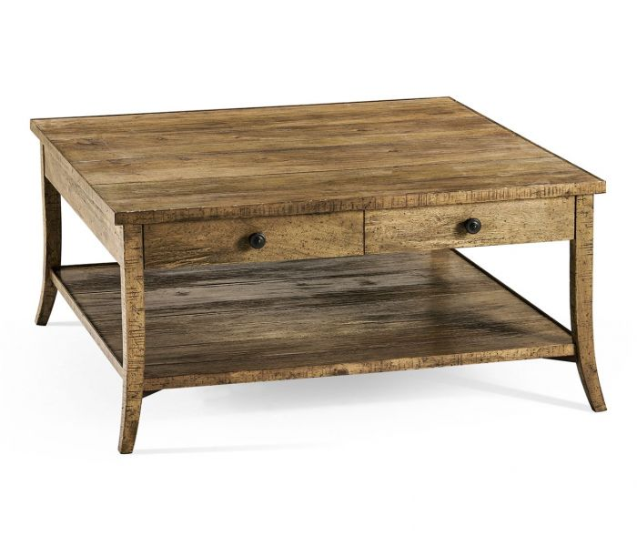 square coffee table with drawers rustic in medium driftwood