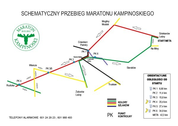 I Maraton Kampinoski - schemat trasy