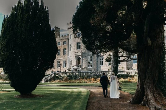 Bride and groom in Markree Castle Garden