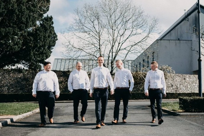 castle dargan with groom and groomsmen