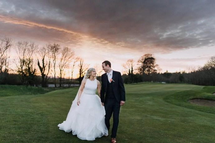 wedding portrait on castle dargan golf field