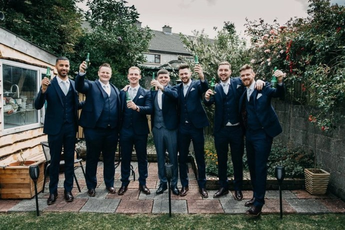 groom and groomsmen wedding portrait in Sligo