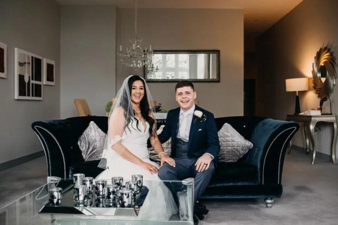 bride and groom in clayton hotel sligo room