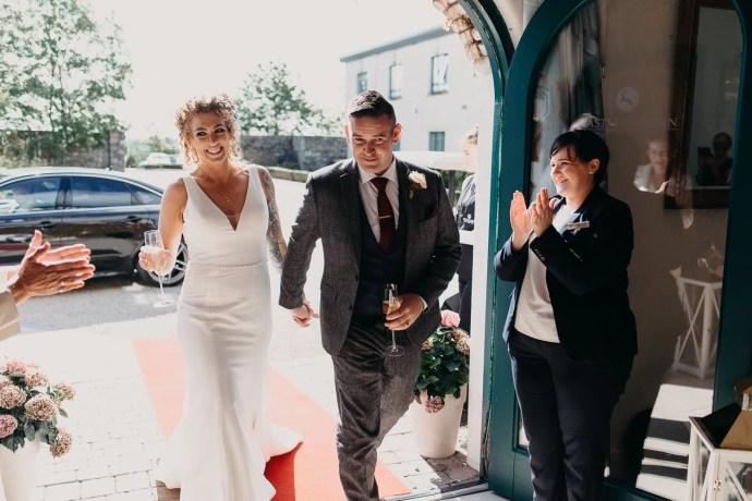 entrance of bride and groom at castle dargan, Sligo, Ireland