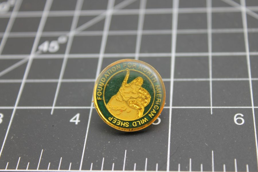 Foundation for North American Wild Sheep Lapel Pin Made in USA green and gold 1