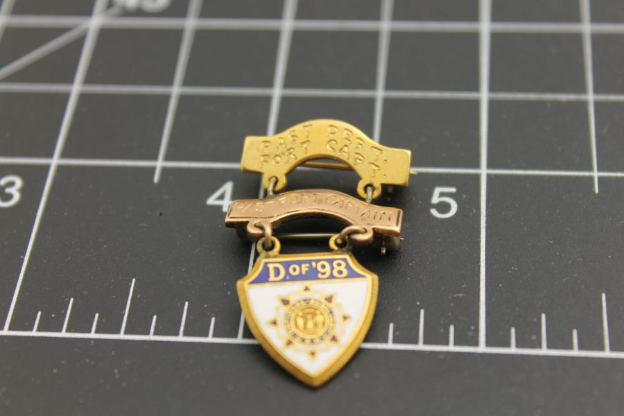 "Antique Lapel Pin National Auxiliary U. S. W. V. ""D of 98"" Past Fort Capt. ""Janice Brill 1963"" Yellow Gold Filled 1"