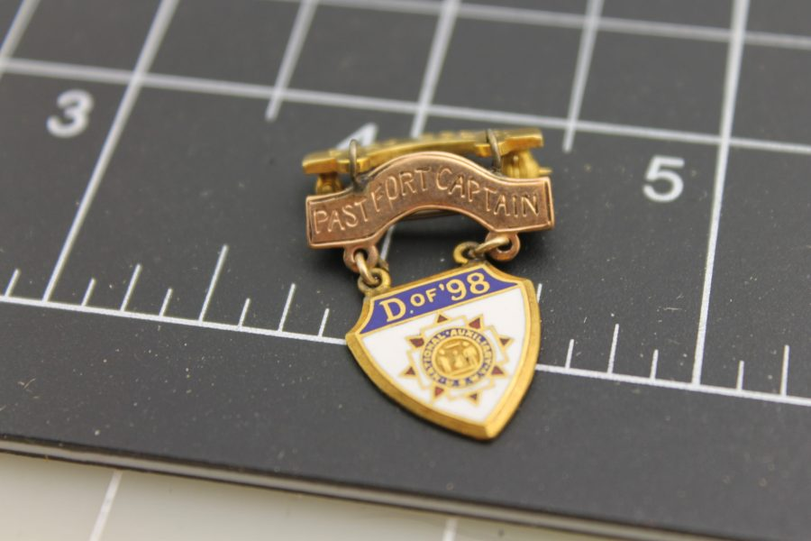 "Antique Lapel Pin National Auxiliary U. S. W. V. ""D of 98"" Past Fort Capt. ""Janice Brill 1963"" Yellow Gold Filled 2"