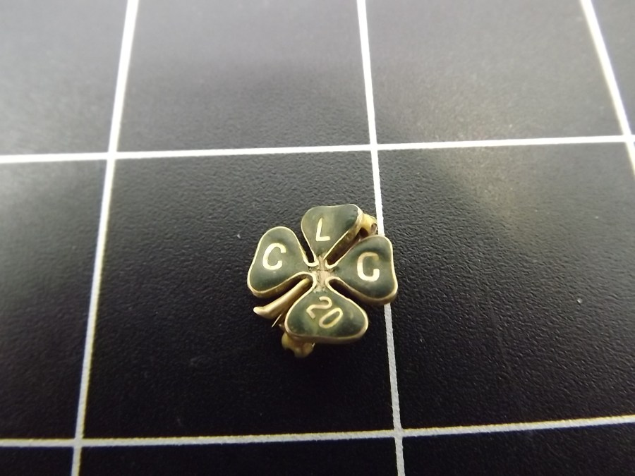 Gold Tone Shamrock Lapel Pin with the initials CLC 20 no markings appears to be gold filled standard back antique 1