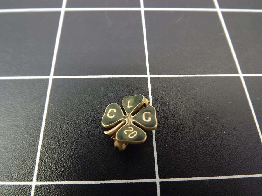 Gold Tone Shamrock Lapel Pin with the initials CLC 20 no markings appears to be gold filled standard back antique 2