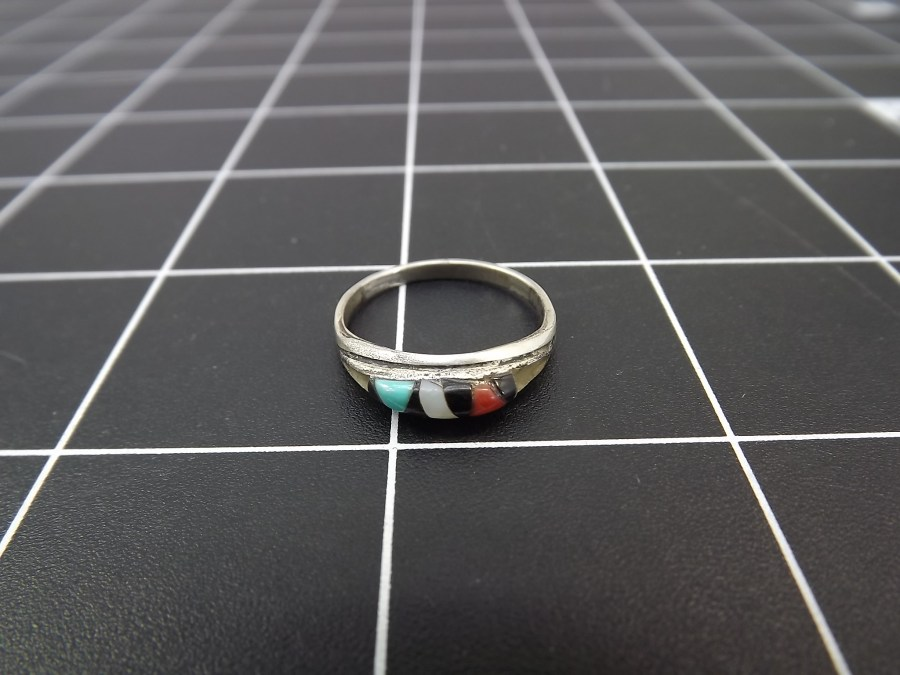 Vintage Sterling Silver Turquoise Ring Native American ZUNI DEAD PAWN finger size 7.5 1