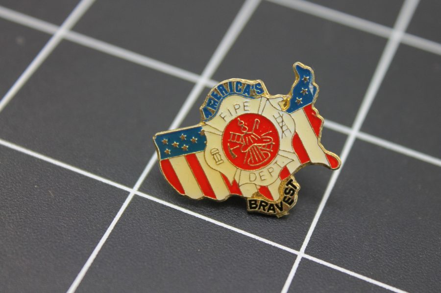 "Brand-New FIRE DEPARTMENT Fireman ""AMERICA'S BRAVEST"" Enameled Lapel Pin Lifetime Guarantee 1"