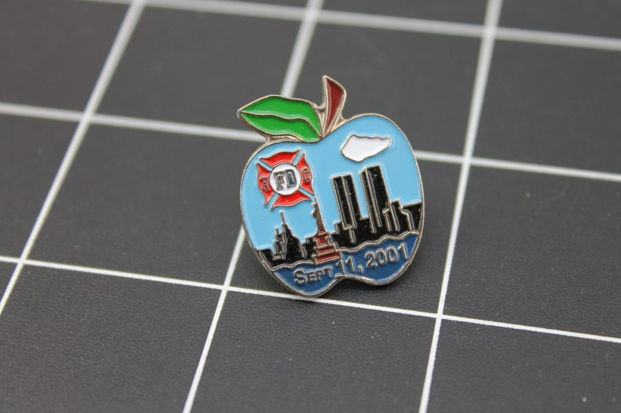 Brand-New FIRE DEPARTMENT NEW YORK BIG APPLE TWIN TOWERS Fireman Enameled Lapel Pin Lifetime Guarantee 1
