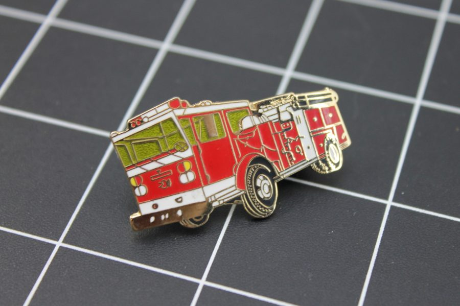 LARGE Brand-New FIRE TRUCK Fireman Enameled Lapel Pin Lifetime Guarantee Firefighter 2