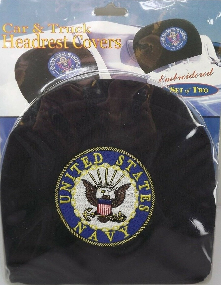 "CAR AND TRUCK HEADREST COVERS-SET OF TWO-UNITED STATES NAVY - BRAND NEW ""USN"" 1"
