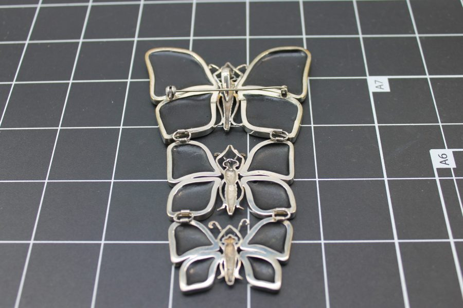 ANTIQUE STERLING SILVER BUTTERFLY ABALONE BROOCH PENDANT 3.6 GRAMS 3