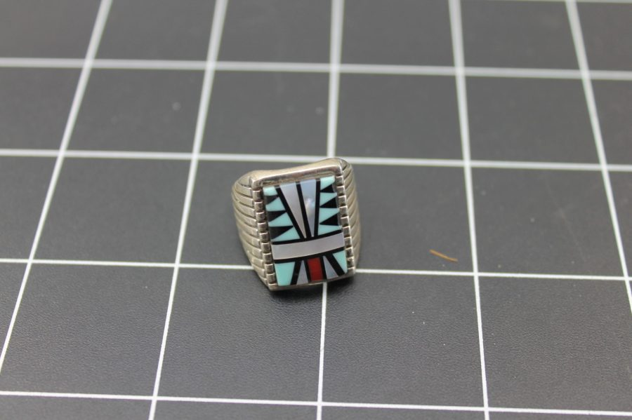VINTAGE STERLING SILVER TURQUOISE MOTHER OF PEARL INLAY NATIVE AMERICAN RING 1