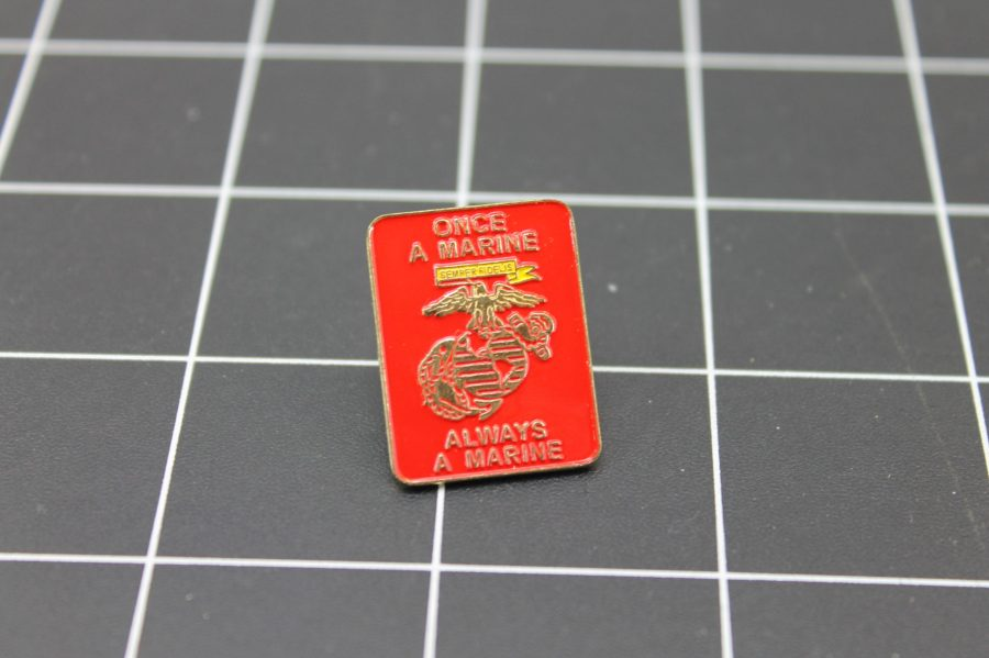 USMC UNITED STATES MARINES ONCE A MARINE ALWAYS A MARINE RED LAPEL PIN 1