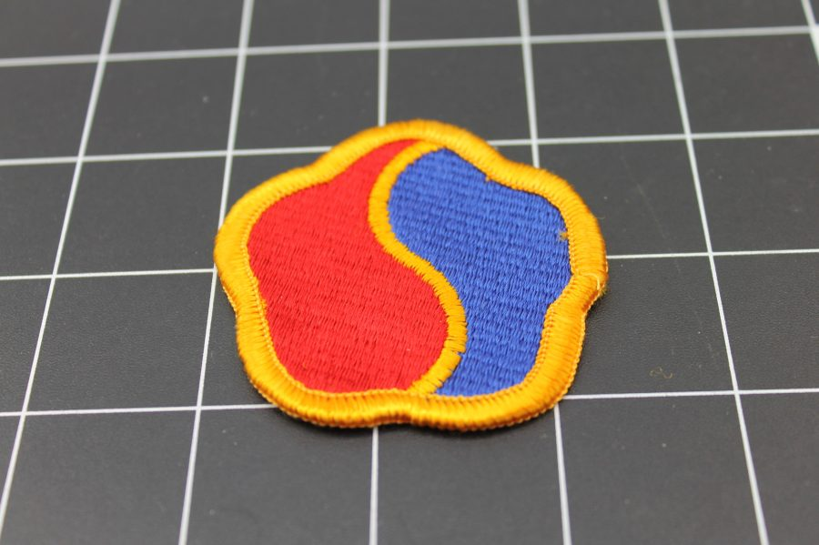 RED AND BLUE MILITARY IRON ON PATCH 1