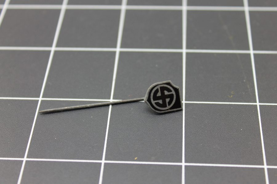 ANTIQUE WWII SILVER TONE BLACK ENAMEL NAZI INSIGNIA STICK PIN 1