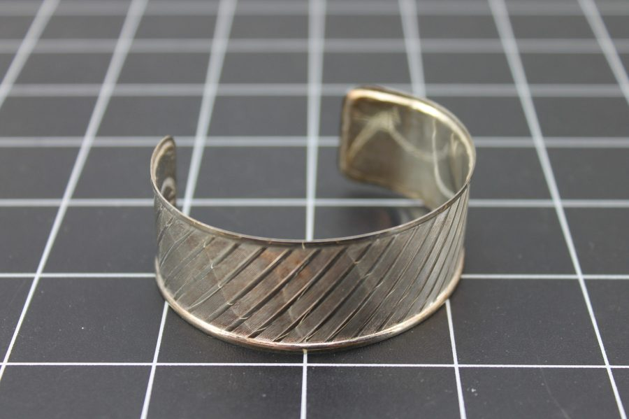 SILVER 925 MADE IN ITALY PATTERNED CUFF BRACELET 14.5 Grams 1