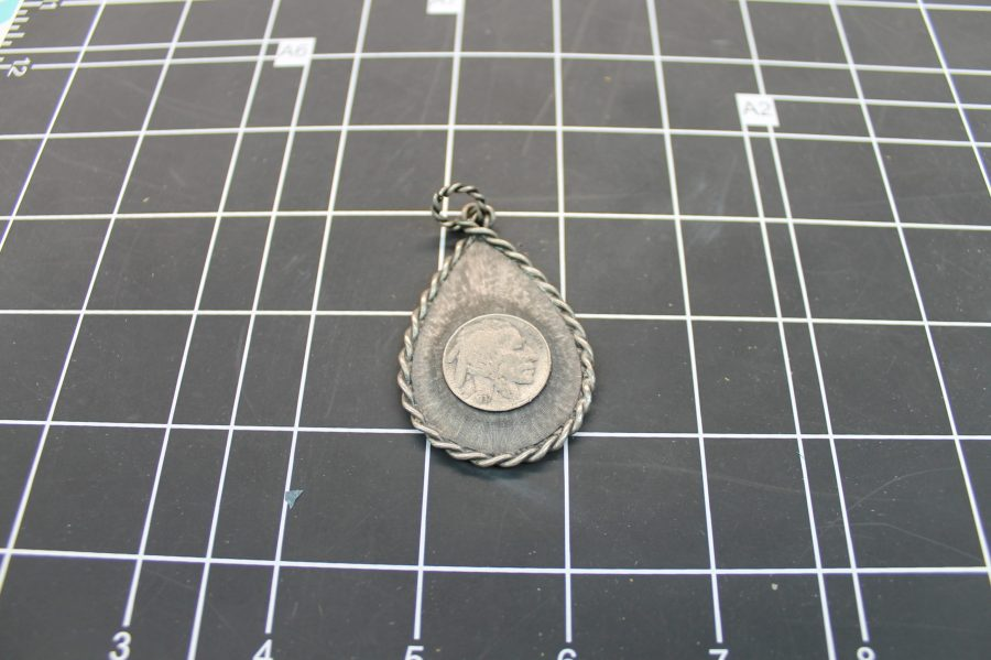 "VINTAGE SILVER TONE ""SARAH"" INDIAN HEAD COIN REPLICA PENDANT 1"