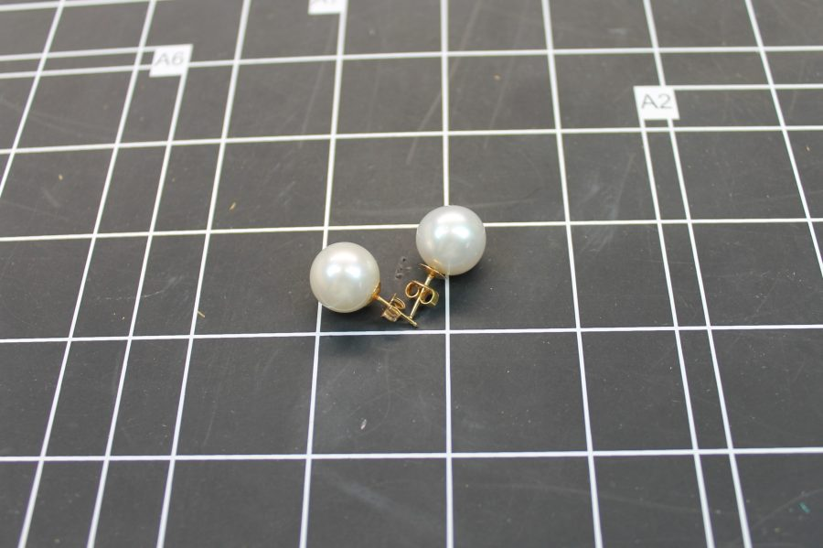 14KT YELLOW GOLD LARGE WHITE MABE PEARL EARRINGS 14MM 2