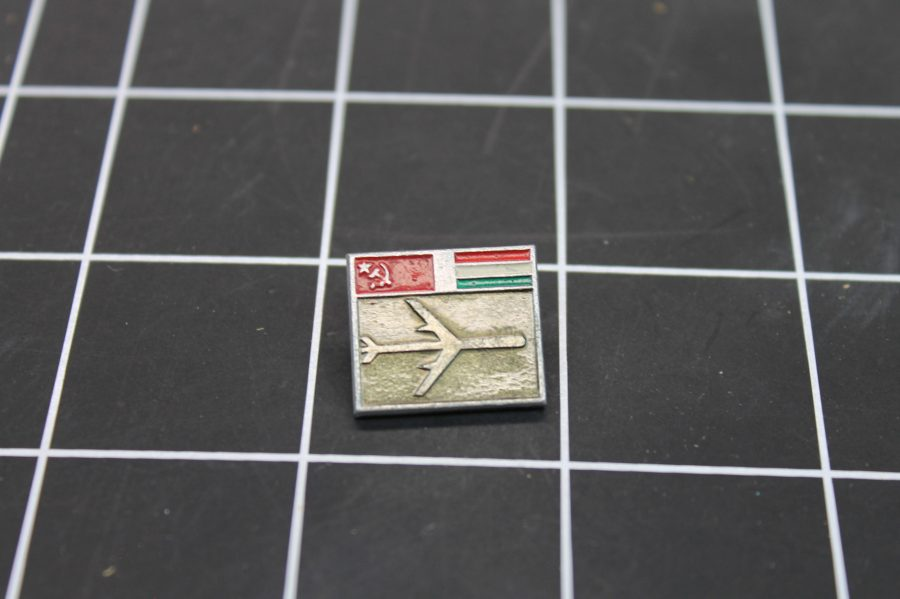 VINTAGE ANTIQUE SILVER TONE MILITARY AIRPLANE RUSSIA USSR ENAMEL LAPEL PIN 1