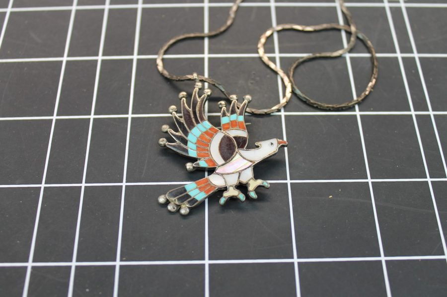 NATIVE AMERICAN ZUNI EAGLE PENDANT W/ TURQUOISE & MOTHER OF PEARL ON STERLING CHAIN 1