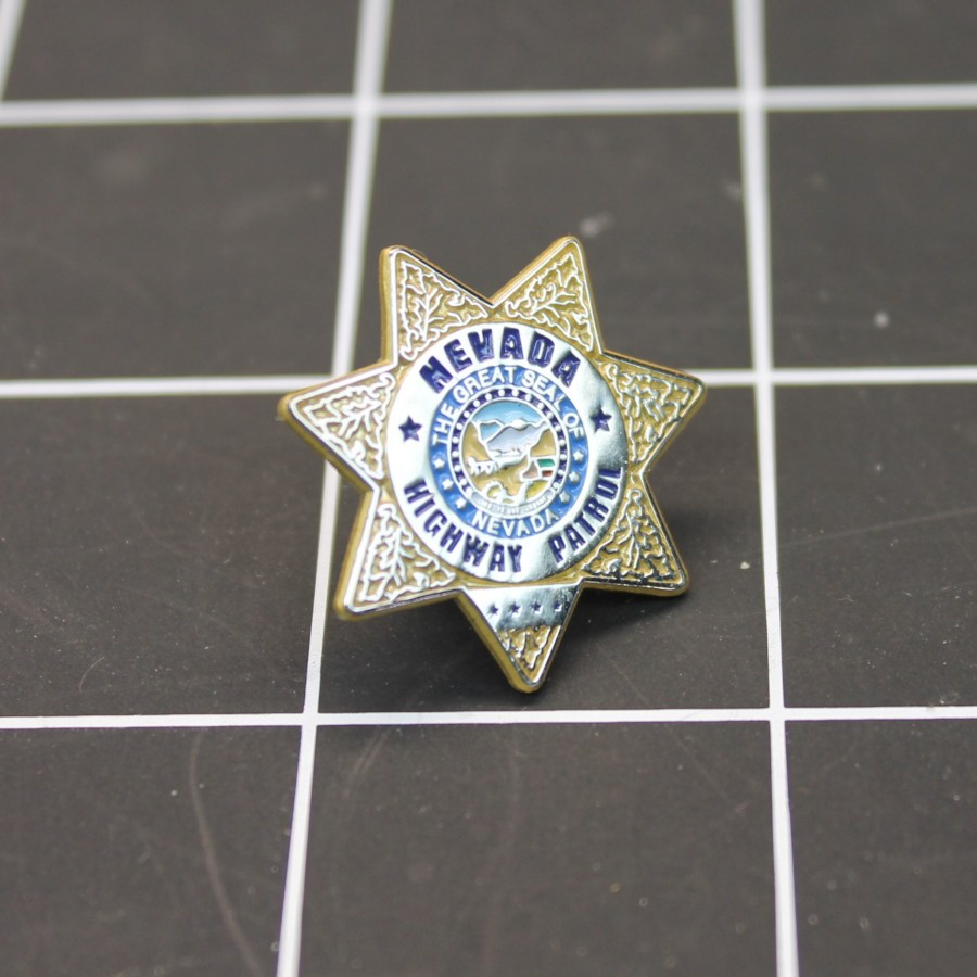 """NEVADA HIGHWAY PATROL"" MINI-BADGE Enamel Lapel Pin BRAND NEW  'LAST ONE OF THIS ORIGINAL DESIGN"" 2"