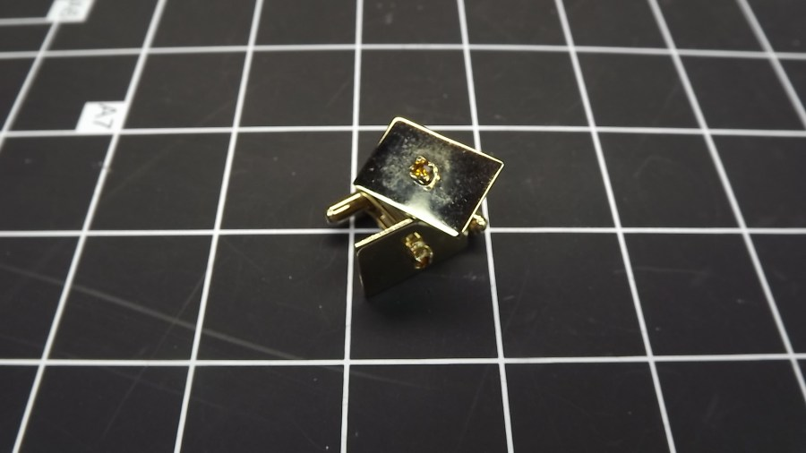 VINTAGE ANTIQUE GOLD TONE RECTANGLE SHAPED CUFF LINKS W/ CITRINE STONES 1