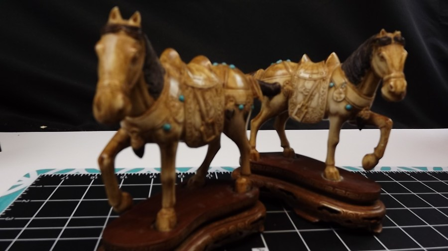PAIR OF 2 ANTIQUE VINTAGE HAND CARVED IVORY STALLION HORSE FIGURINES 1