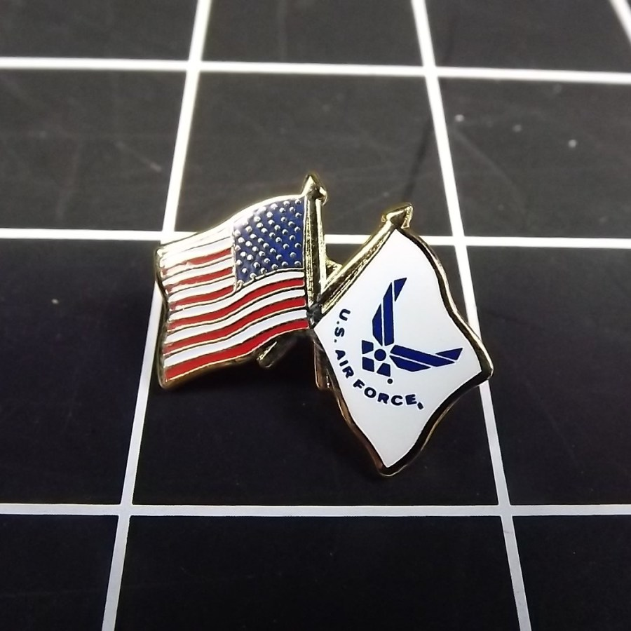 """BRAND NEW Lapel Pin USA USAF Crossed Flags Enamel 1"""" AIR FORCE AMERICAN FLAG 1"""