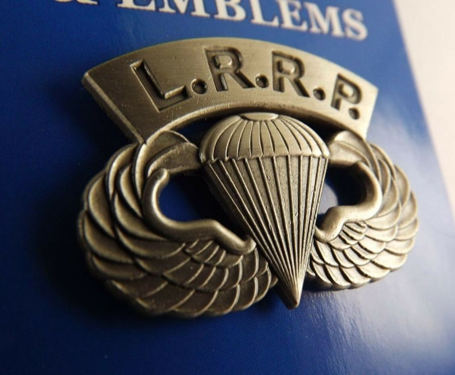 """BRAND NEW Lapel Pin US Army Paratrooper L. R. R. P. Wing Pewter 1 1/4"""" 1"""