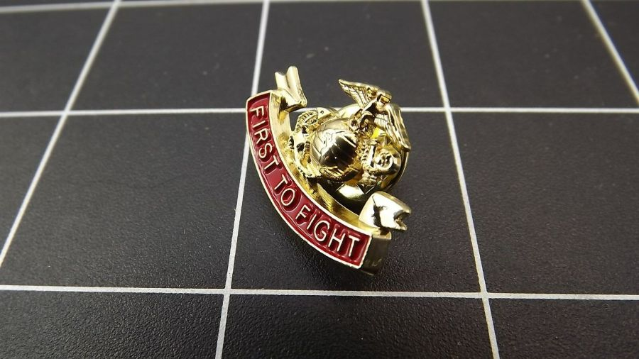 "BRAND NEW Lapel Pin USMC First To Fight Red Enamel 1"" 3"