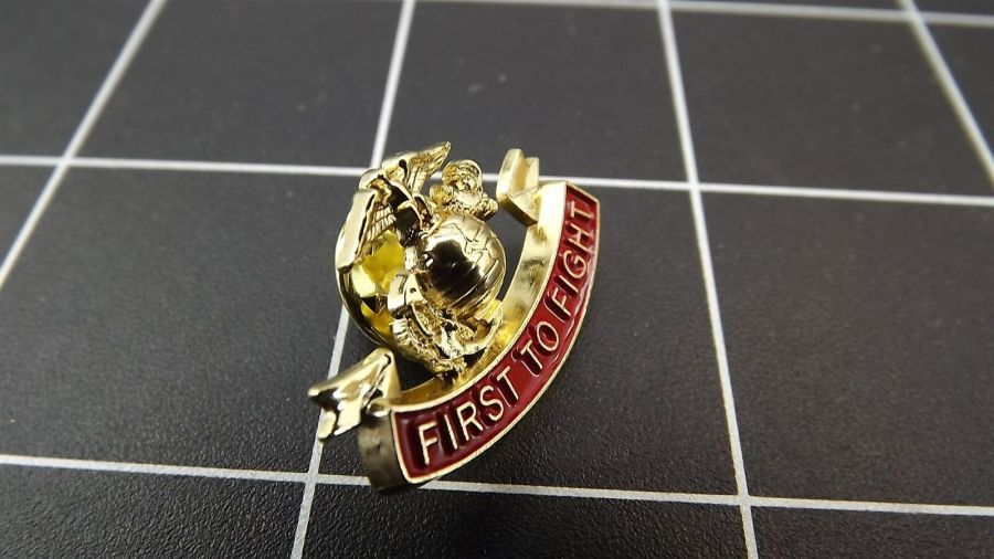 "BRAND NEW Lapel Pin USMC First To Fight Red Enamel 1"" 1"