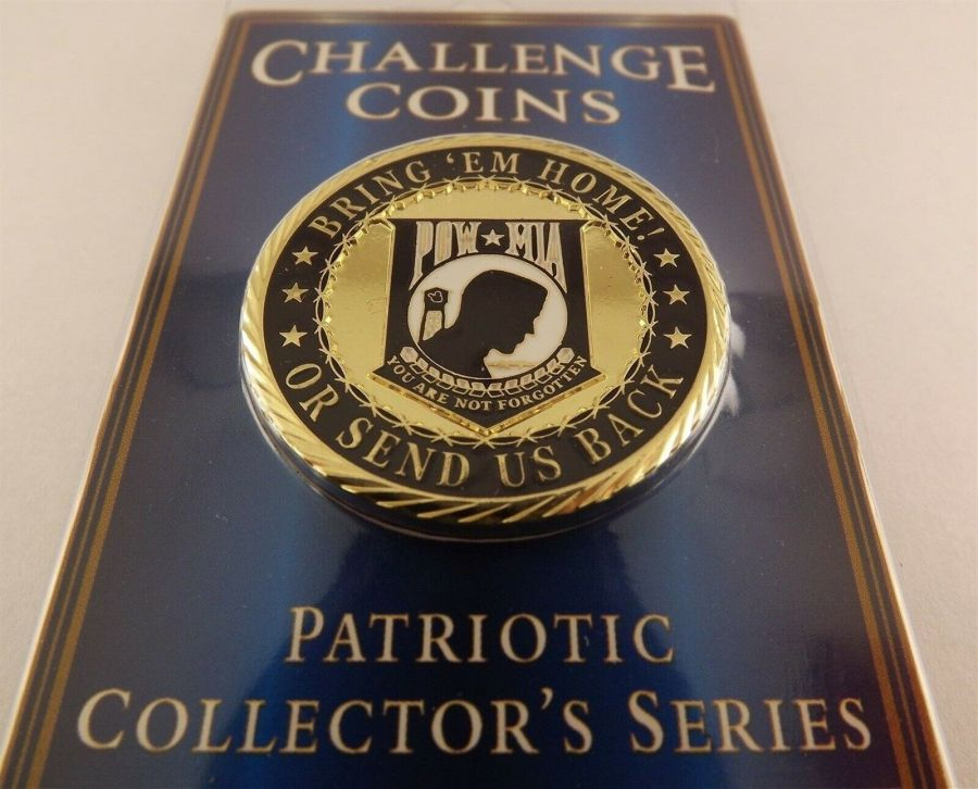 """CHALLENGE COIN, NEW POW*MIA BRING 'EM HOME Enameled PATRIOTIC 1-5/8"""" NEW 1"""