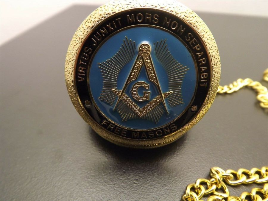 New Masonic Mason Pocket Watch Gold Tone Square & Compass BLUE LODGE ENAMEL 6