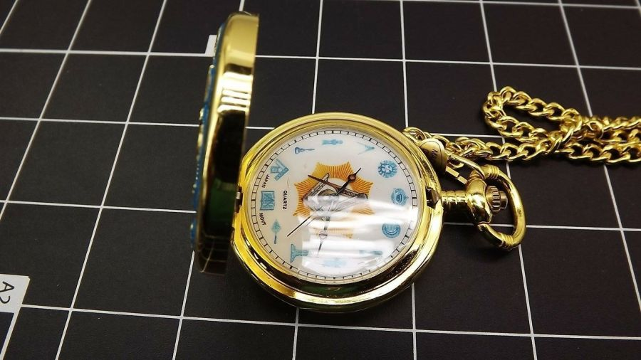 New Masonic Mason Pocket Watch Square & Compass WORKING TOOLS QUARTZ BLUE LODGE 5