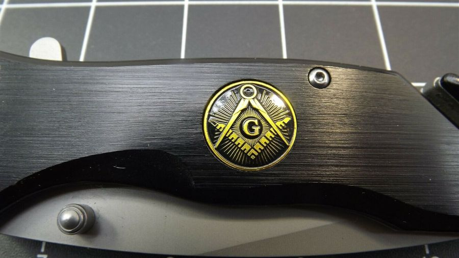 New Tactical Masonic Mason Folding Pocket Knife FREEMASON Square & Compass 3